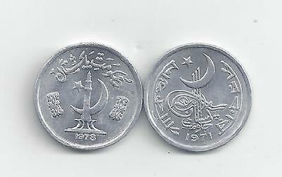 2 DIFFERENT 1 PAISA COINS from PAKISTAN - 1971 & 1978 (2 TYPES)