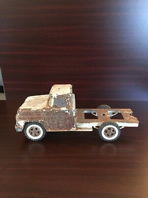 1960's Vintage Tonka Pressed Steel Aa Wrecker Tow Truck Toy White.