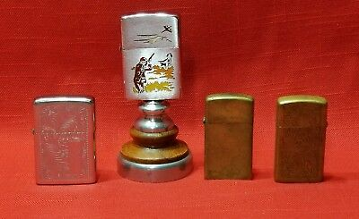 Lot of 4 Vintage Zippo Lighter Lighters 1950 Duck Hunter 1979 1985 1993 Scroll
