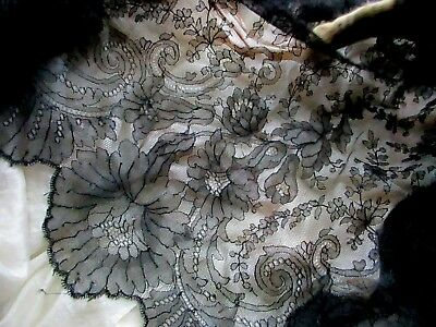 """ANTIQUE VICTORIAN FRENCH 19th 1800s SILK CHANTILLY LACE FABRIC PANEL 46"""" x 26"""""""