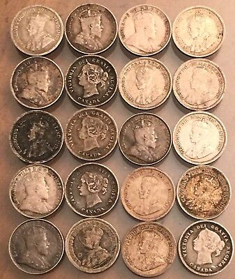 Lot Of (20) Old Silver Canadian 5 Cent Silver Coins 1891-1920