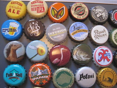 Lot B of 63 Different USA Beer Bottle Caps - Mankato obsolete, Adirondack Series