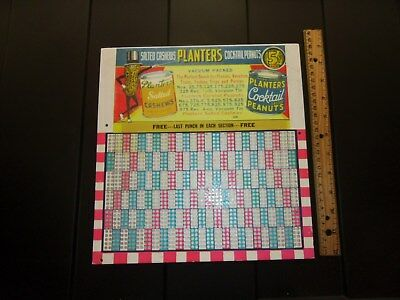 Planters Peanut Cardboard Punchboard 5c Cents Salted Cashews Cocktail Peanuts #9
