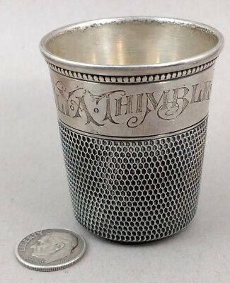 Antique Large Sterling Silver Thimble Shot Glass Only A Thimble Full Not Scrap