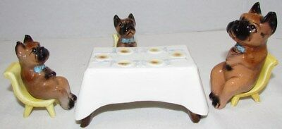 Vintage Comical Boxer Dogs Sitting At Table Figurines, Japan