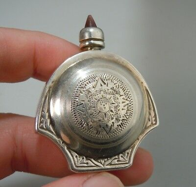 Vintage Mexican Sterling Silver Perfume Bottle - Jeweled Top     50676
