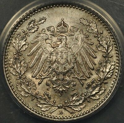 1908-D Anacs Ms64 Germany 1/2 Mark Scarce Date Lustrous