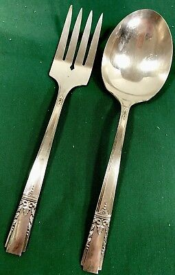 WM Rogers Lady Drake Silverplate Flatware Salad Spoon Fork Set 1940 EUC