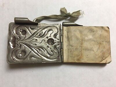 Art Deco Swiss German antique rare pocket tiny note book with Metal Diary