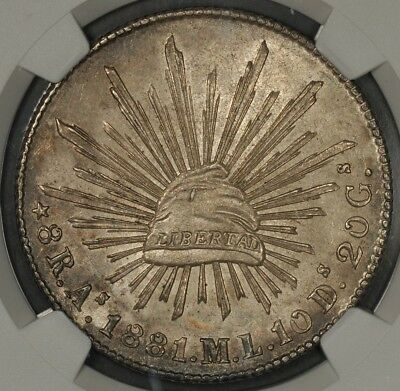 1881-As Ngc Ms62 Mexico 8 Reales Rare In Mint State