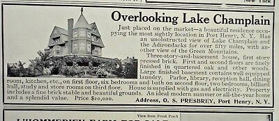 PORT HENRY Real Este Ad 1908 from Country Life in America June 1908