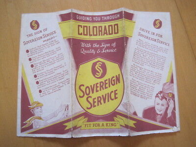 1934 Vintage Sovereign Oil Gas Road Map Colorado Lady in Car Attendant Graphics