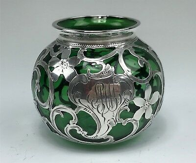 Sweet Little Antique Round Silver Overlay Green Glass Vase
