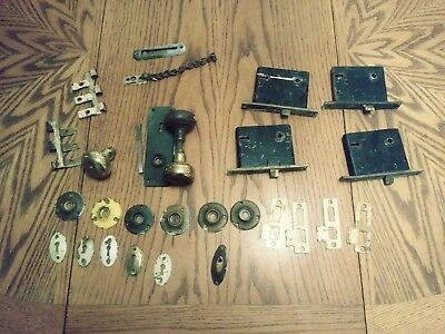 Antique victorian door handle set, hardware, knobs, and lock mechanisms