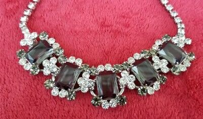 Vintage Juliana huge smoke and clear rhinestones choker necklace