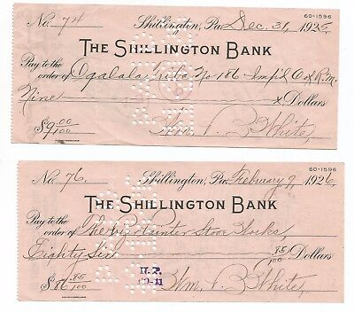Two Shillington, PA bank checks 1925, 26, Berks County, PA