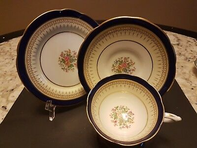 "Paragon Fine Bone China Footed Cup And Saucer Trio ""delphic"" Cobalt And Gilt"