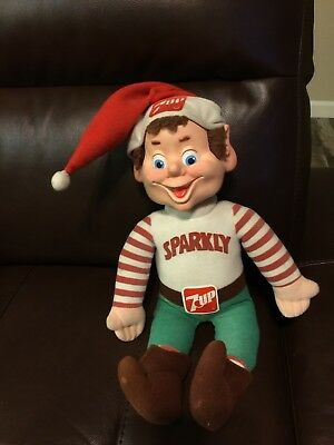 "1983 7UP Soda POP""SPaRKLY"" HoLidaY HeLper DOLL ELF Stuffed Toy Hard Rubber FACE"