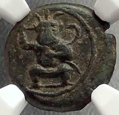 EBUSUS Ibiza Island off SPAIN 210BC Ancient Greek Coin KABEIROS CULT NGC i67620