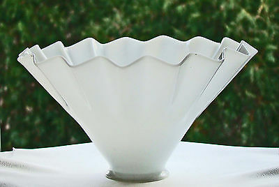 A rare antique white glass ribbed lamp shade for 2 1/2 inch fitter