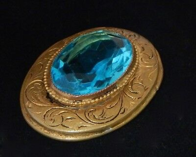 Vintage Czech Bohemian Faceted Aquamarine Crystal Glass Large Etched Gold Brooch