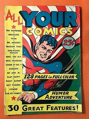 Rare 1944 ALL YOUR COMICS #1 * Classic V-MAN Cover * Red Robbins * HITLER App.!