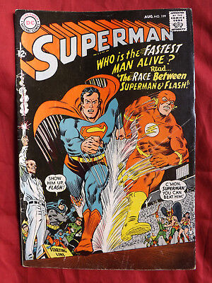 Superman #199 (Aug 1967, DC) race between Superman and Flash
