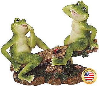 George S. Chen Imports SS-G-61041 2 Frogs on Seesaw Garden Decoration Collectib