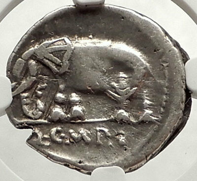 SULLA's General as IMPERATOR 81BC Silver Roman Republic Coin ELEPHANT NGC i67613