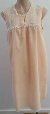 Vintage 80s Pastel APRICOT ORANGE Cotton Blend Lace Trim Nightie size 12