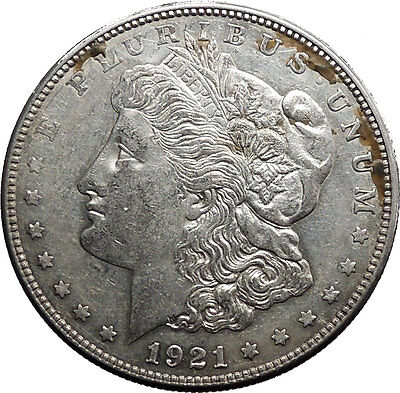 1921D Morgan Silver Dollar United States of America Large Coin with Eagle i50202
