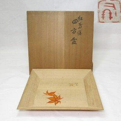 F870: Japanese wooden square tray with great SEIHO TAKEUCHI's painting with box