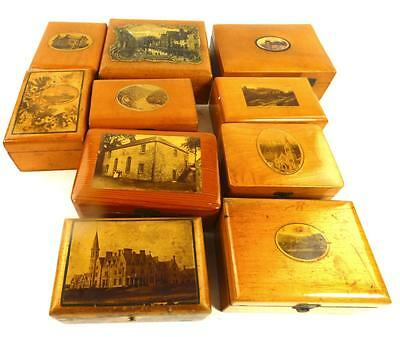 LOT OF 10 ANTIQUE MAUCHLINEWARE BOXES VARIOUS SCENES h