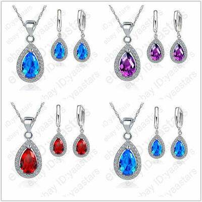Hot High Quality 925 Sterling Silver Water Drop Zircon Wedding Party Jewelry Set