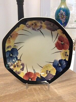 Royal Doulton Pansies Octagonal Bowl In  Excellent Condition 7.5 Inches
