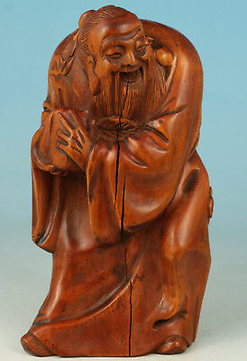 Boxwood Handmade Carved confucianist Kongzi Statue Decoration