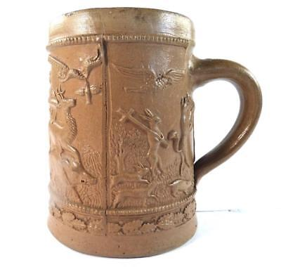 Antique 19Th Century German Regensburg Stoneware Stein Verse Anthropomorphic