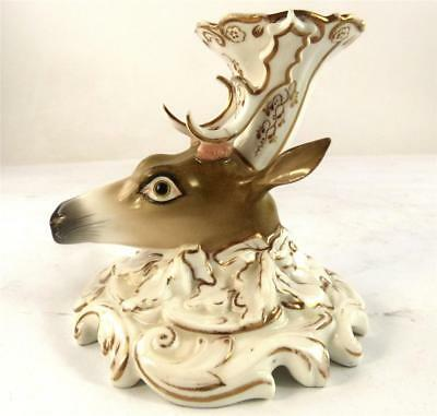 ANTIQUE 19th CENTURY PORCELAIN STAG QUILL HOLDER INKWELL CONTINENTAL OR ENGLISH