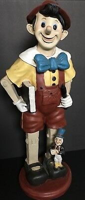Vintage Standing Pinocchio and Jiminy Cricket Walt Disney display Mid Big Fig