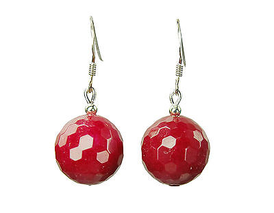 Glamorous Earrings in Ruby Jade Stones in Facetted Ball Form D-13 mm
