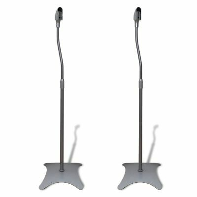 New 2pc Universal Monitor Speaker Stand Studio Steel Portable Silver Adjustable