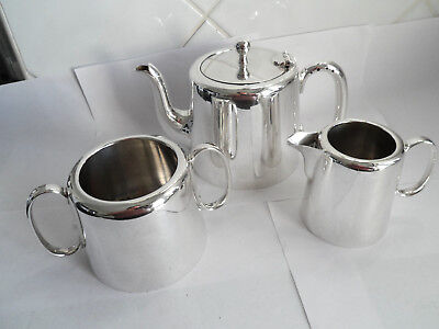 Vintage Silver Plate 3 Pc Teapot Sugar & Milk Good Quality Hotel Ware Gleaming