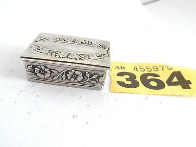 Vintage Repousse Silver Plate   Floral Decoration Small Pill Box   / Snuff Box