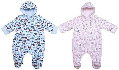 Baby Padded Hooded Pramsuit Tractor Flowers Snowsuit Coat Newborn to 6 Months
