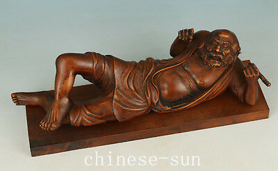 Chinese Buddha Boxwood made Carved Buddha Lie Monk Statue