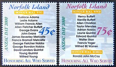 2000 Norfolk Island Stamps - Anzac Day 2000 - Set of 2 MNH