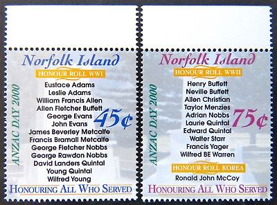 2000 Norfolk Island Stamps - Anzac Day 2000 - Set of 2 - Tabs MNH