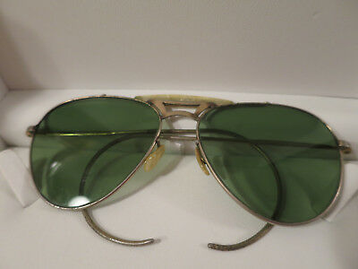 Vintage Antique 1930's Aviator Sunglasses, Wire Frame, Green Glass