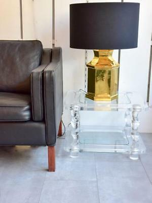 Clear perspex side tables pair - Romeo Claude Dalle mid century side tables