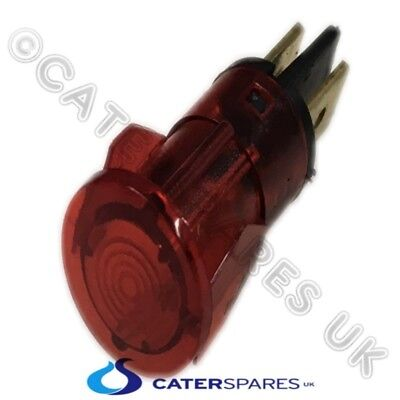 13mm RED PUSH FIT NEON LAMP INDICATOR BULB MAINS POWER SNAP IN FITTING 230V